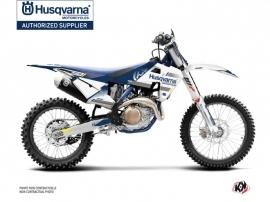 Kit Déco Moto Cross Split Husqvarna TC 125 Blanc Bleu