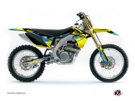 Kit Déco Moto Cross Stage Suzuki 250 RMZ Jaune Bleu