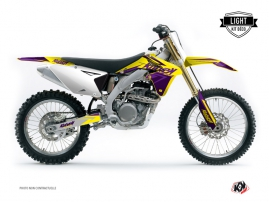 Kit Déco Moto Cross Stage Suzuki 250 RMZ Jaune Violet LIGHT