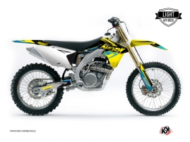 Kit Déco Moto Cross Stage Suzuki 450 RMZ Jaune - Bleu LIGHT