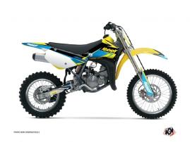 Kit Déco Moto Cross Stage Suzuki 85 RM Jaune Bleu