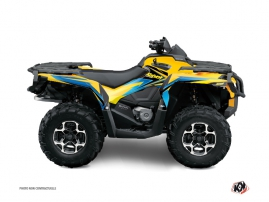 Can Am Outlander 500-650-800 MAX ATV Stage Graphic Kit Yellow Blue