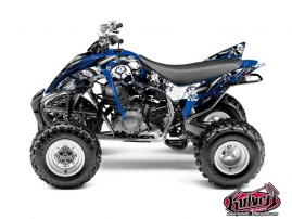 Yamaha 350 Raptor ATV Trash Graphic Kit Black Blue