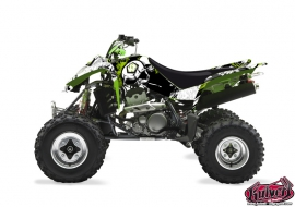 Kawasaki 400 KFX ATV Trash Graphic Kit Black Green