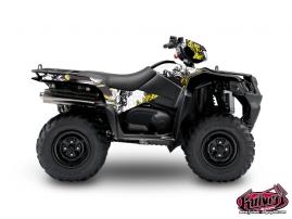 Suzuki King Quad 750 ATV Trash Graphic Kit Black Yellow