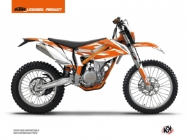 Kit Déco Moto Cross Trophy KTM 350 FREERIDE Orange Blanc
