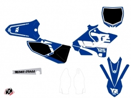 Yamaha 125 YZ Dirt Bike Vintage Graphic Kit Blue