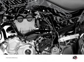 Kit Déco Protection de cadre Quad Zombies Dark Yamaha 450 YFZ-R 2014-2016 Noir